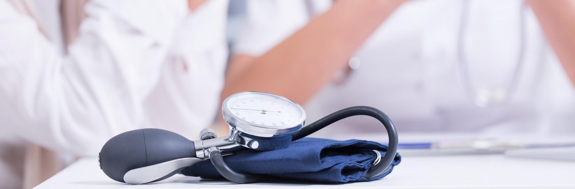 Blood pressure monitor on desk