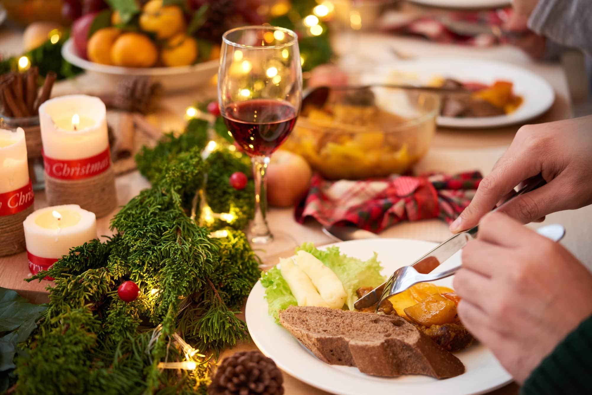 Enjoying Christmas food